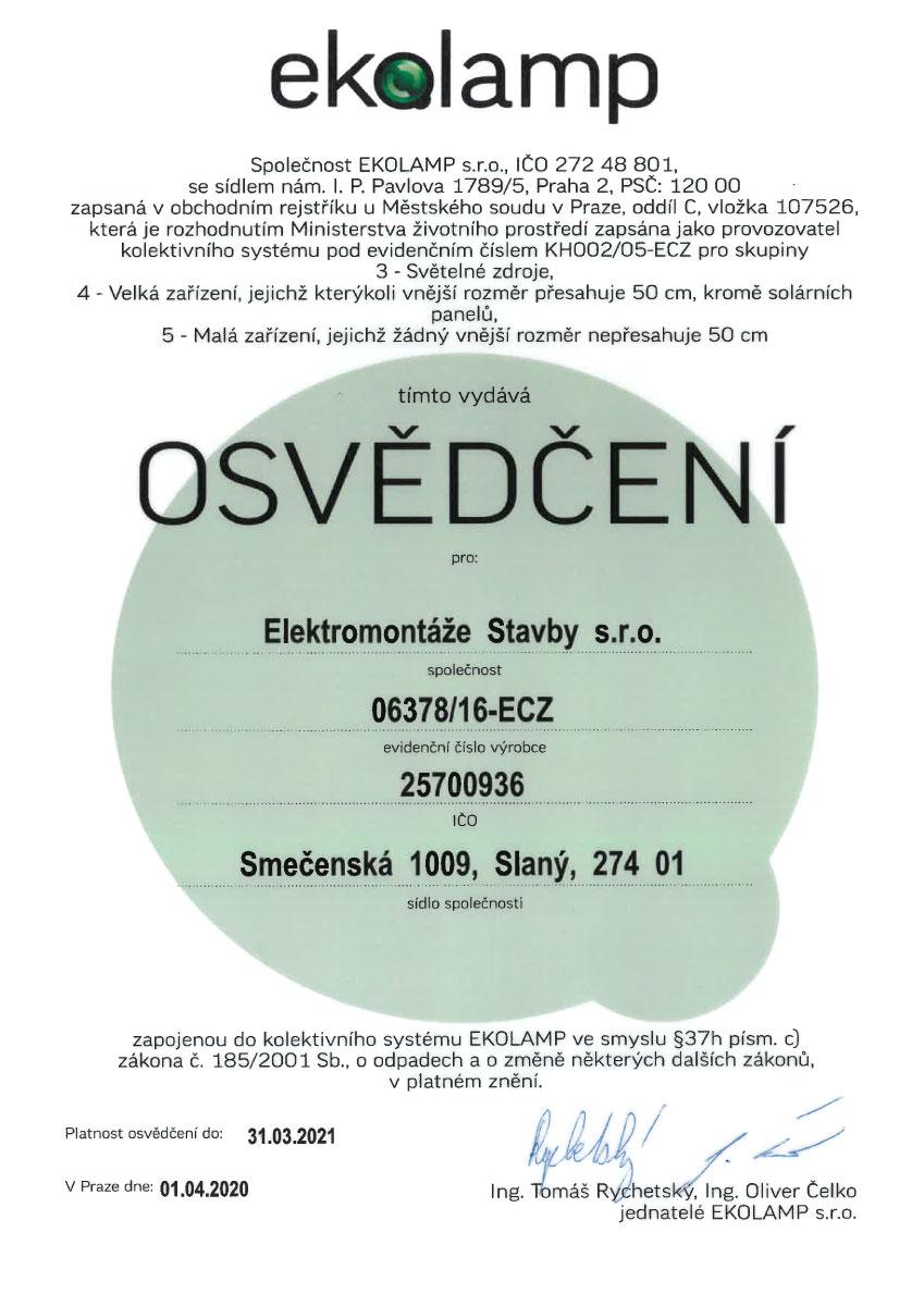 Certifikát Ekolamp